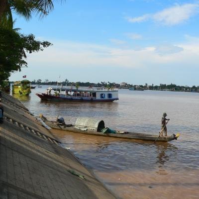 Vue de la rivière Mékong au Cambodge